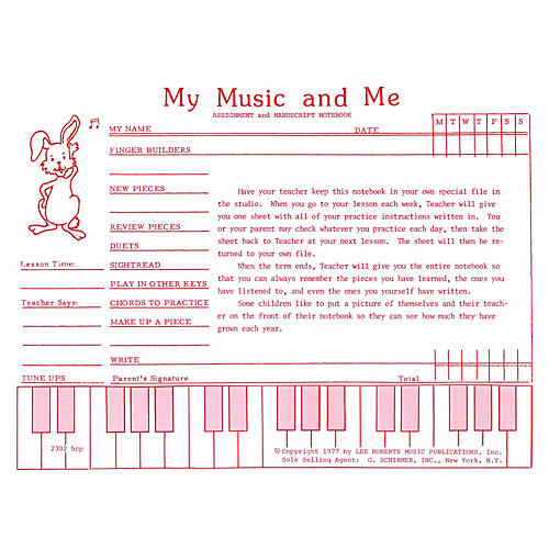 Lee Roberts Teaching Aids, My Music & Me - Primary Manuscript and Assignment Diary Pace Piano Education Series