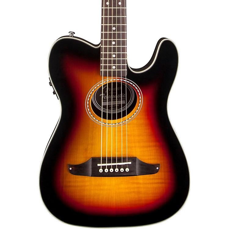 FenderTelecoustic Premier Flame Maple Acoustic-Electric Guitar3-Color Sunburst