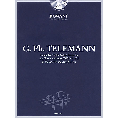 Dowani Editions Telemann: Sonata in C Major for Treble (Alto) Recorder and Basso Continuo TWV41:C2 Dowani Book/CD Series-thumbnail