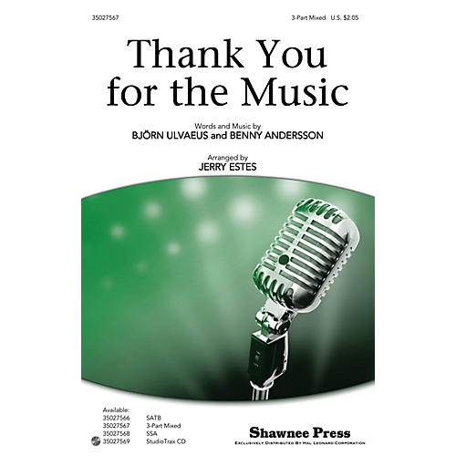 Shawnee Press Thank You for the Music 3-Part Mixed by ABBA arranged by Jerry Estes-thumbnail