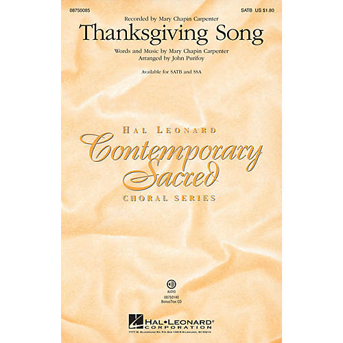Hal Leonard Thanksgiving Song SSA by Mary Chapin Carpenter Arranged by John Purifoy-thumbnail