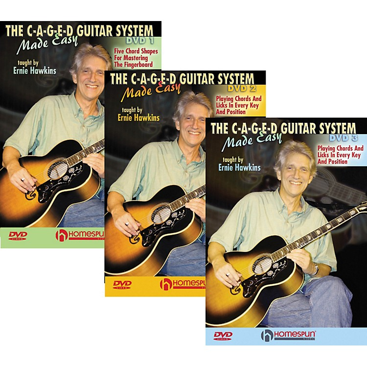 Homespun The C-A-G-E-D Guitar System Made Easy DVDs 1,2, & 3