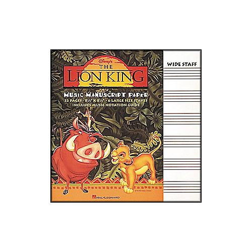 Hal Leonard The Lion King Music Manuscript Paper
