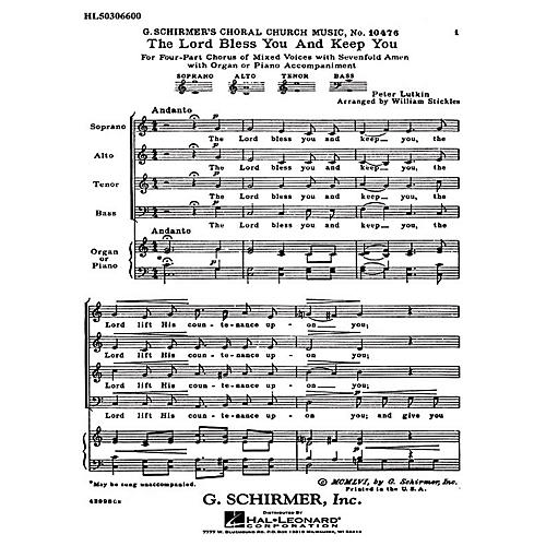 G. Schirmer The Lord Bless You and Keep You (with 7-Fold Amen) SATB composed by Peter Lutkin