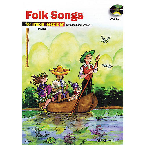 Schott The Most Beautiful Folk Songs (Fun and Games with the Recorder) Schott Series Softcover with CD-thumbnail