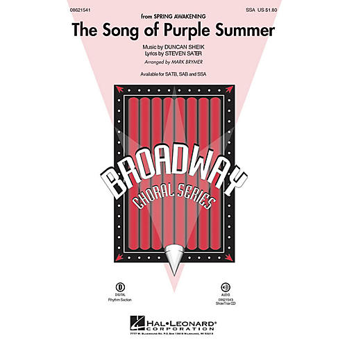 Hal Leonard The Song of Purple Summer (from Spring Awakening) SSA arranged by Mark Brymer-thumbnail