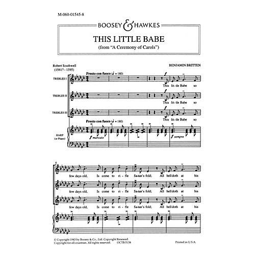 Boosey and Hawkes This Little Babe (from A Ceremony of Carols) SSA and Harp (Piano) 3 Part composed by Benjamin Britten-thumbnail