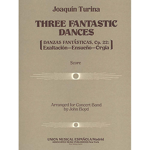 Associated Three (3) Fantastic Dances, Op. 22 (Full Score) Concert Band Composed by Joaquin Turina-thumbnail