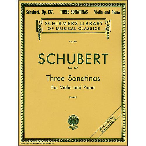G. Schirmer Three Sonatinas Op 137 Violin/Piano 3 By Schubert