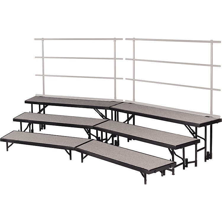 Midwest Folding ProductsTiered Tapered Standing Choral Risers3 Level, Pewter Gray Carpet