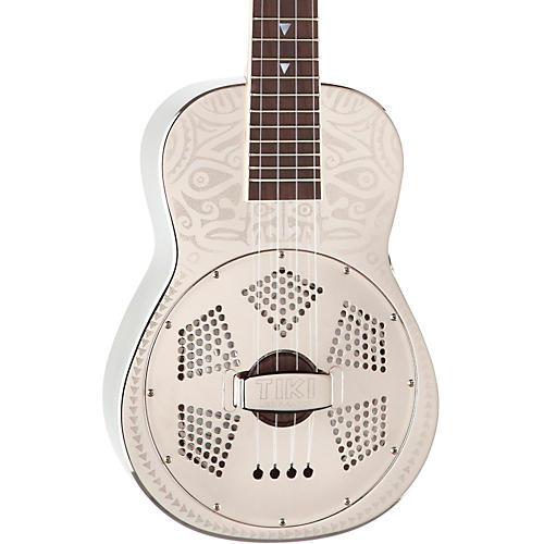 Luna Guitars Tiki Resonator Concert Ukulele Chrome Plated