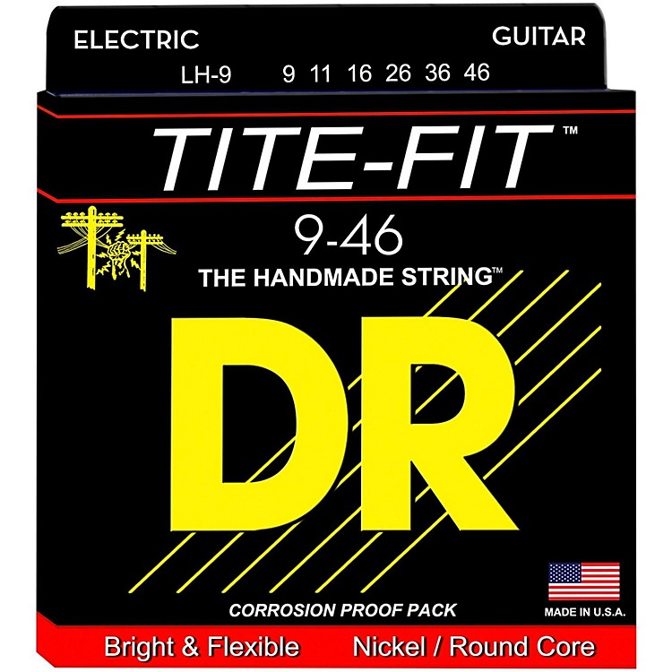 DR Strings Tite-Fit LH-9 Lite-n-Heavy Nickel Plated Electric Guitar Strings