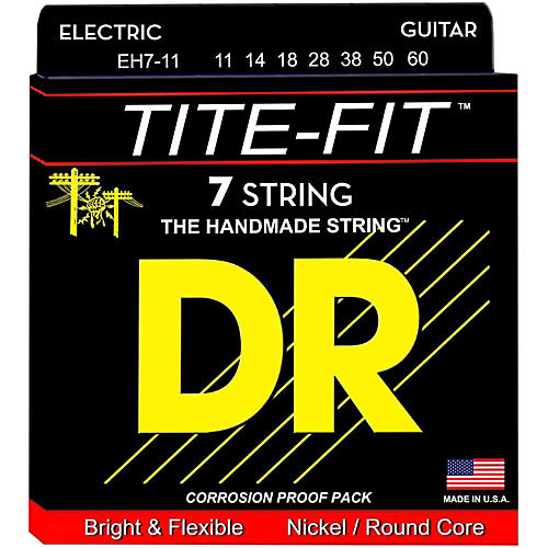 DR Strings Tite-Fit Nickel Plated 7-String Electric Guitar Strings Heavy (11-60)-thumbnail