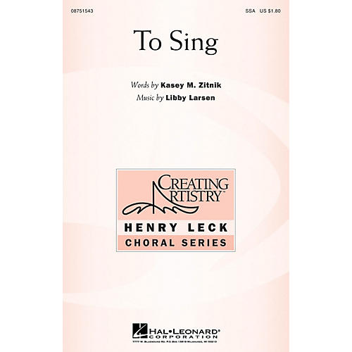 Hal Leonard To Sing SSA composed by Libby Larsen-thumbnail