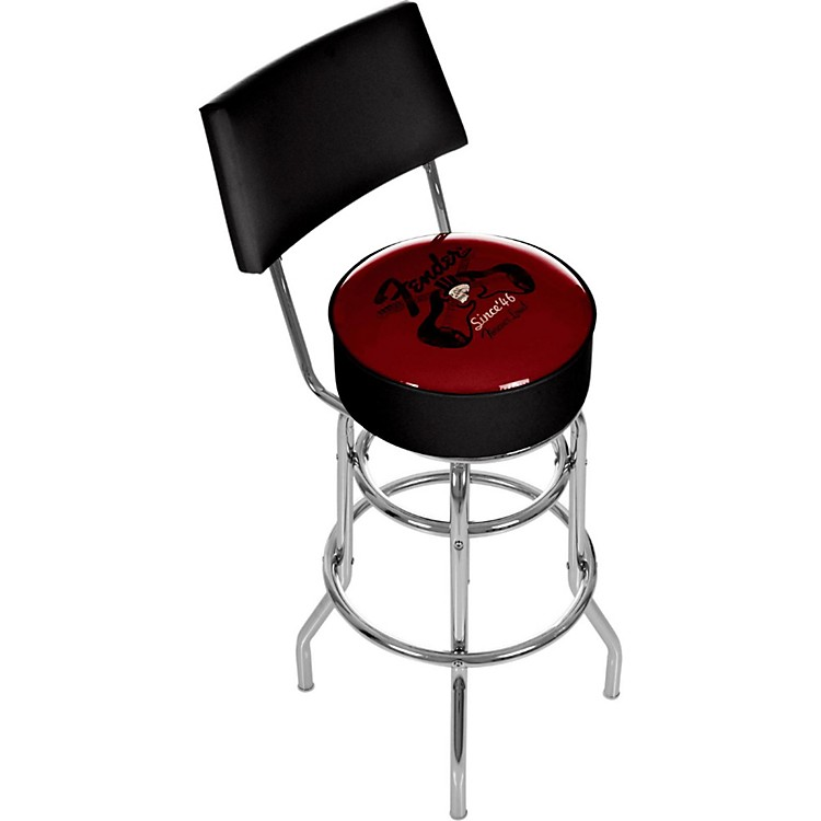 FenderTop Hat 30in Barstool with BackRed and Black