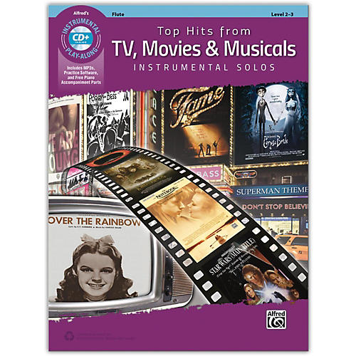 Alfred Top Hits from TV, Movies & Musicals Instrumental Solos Flute Book & CD, Level 2-3
