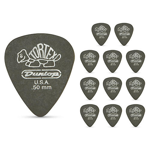 Dunlop Tortex Pitch Black Standard Guitar Picks 1 Dozen .50 mm