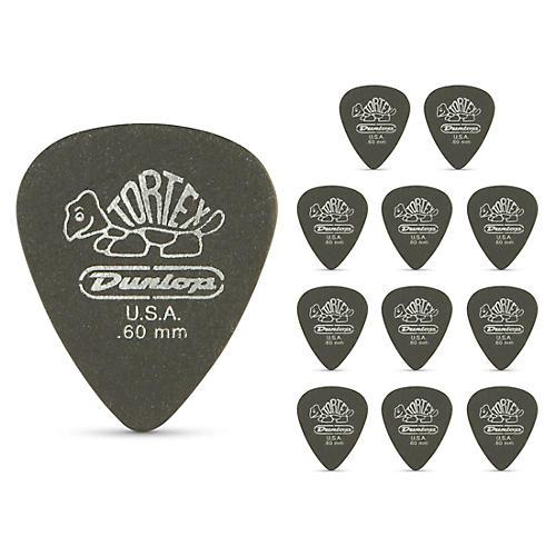 Dunlop Tortex Pitch Black Standard Guitar Picks 1 Dozen .60 mm