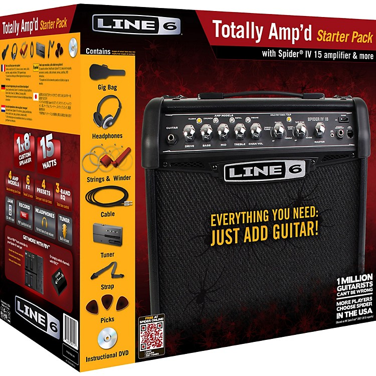 Line 6 Totally Amp'd Spider IV 15 Guitar Amp Starter Pack