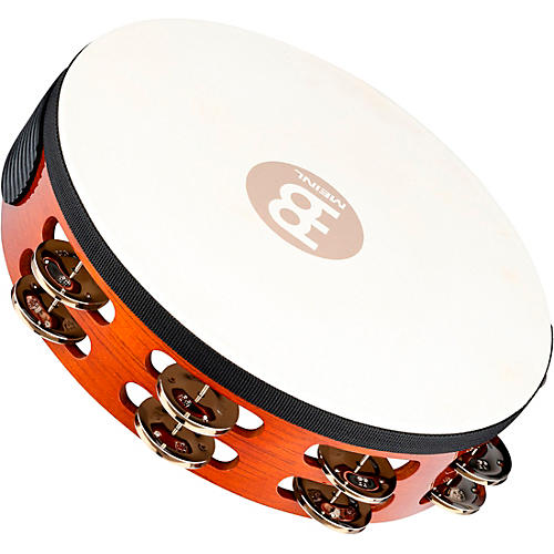 Meinl Traditional Goat-Skin Wood Tambourine Two Rows Steel Jingles