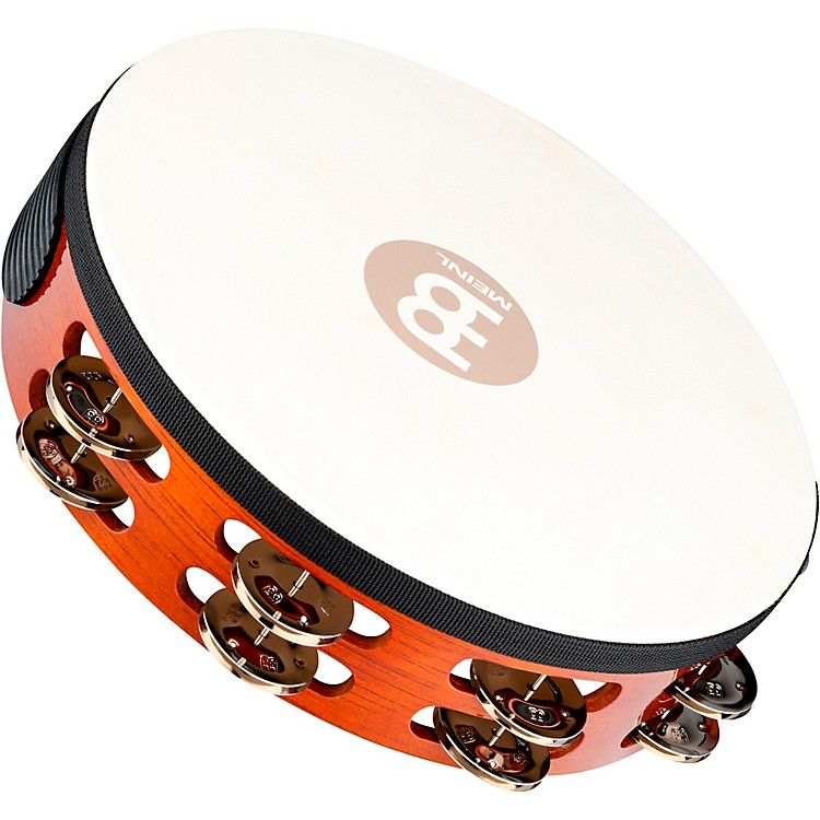 Meinl Traditional Goat-Skin Wood Tambourine Two Rows Brass Jingles