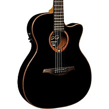 Lag Guitars Tramontane T100ASCE Slim-line Auditorium Cutaway Acoustic-Electric Guitar Black