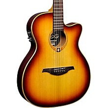 Lag Guitars Tramontane T100ASCE Slim-line Auditorium Cutaway Acoustic-Electric Guitar Brown Sunburst