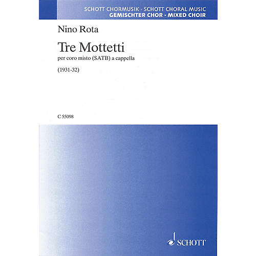 Schott Tre Mottetti SATB a cappella Composed by Nino Rota-thumbnail