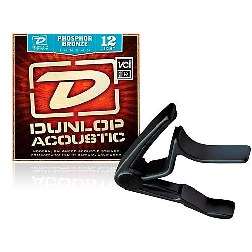 Dunlop Trigger Curved Black Capo and Phosphor Bronze Light Acoustic Guitar Strings -thumbnail