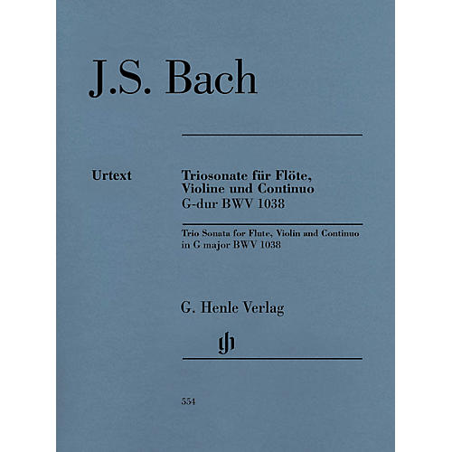 G. Henle Verlag Trio Sonata for Flute, Violin and Continuo BWV 1038 Henle Music Softcover by Bach Edited by Peter Wollny