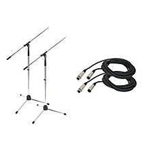 Proline Tripod Microphone Stand with 20 Foot Microphone Cable (2 Pack) Chrome