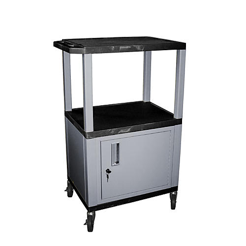 H. Wilson Tuffy Cart with Lockable Cabinet Black and Nickel Small