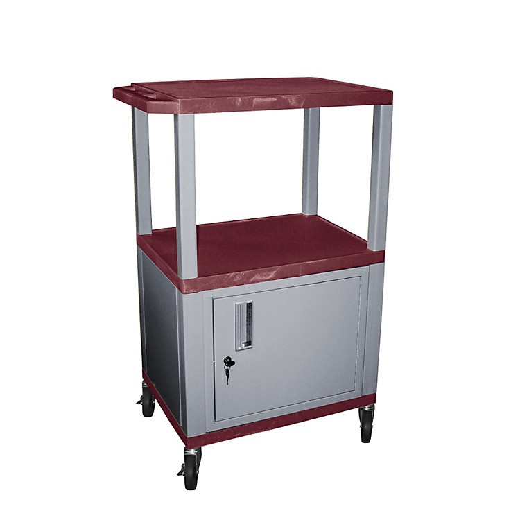 H. Wilson Tuffy Cart with Lockable Cabinet Burgundy and Nickel Small