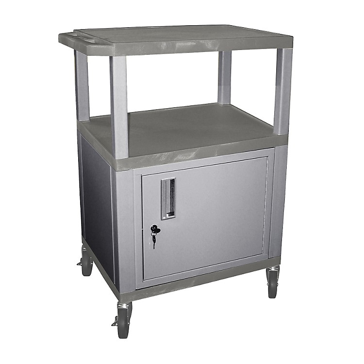 H. Wilson Tuffy Cart with Lockable Cabinet Gray and Nickel Small