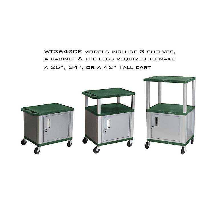 H. Wilson Tuffy Cart with Lockable Cabinet Hunter Green and Nickel Small