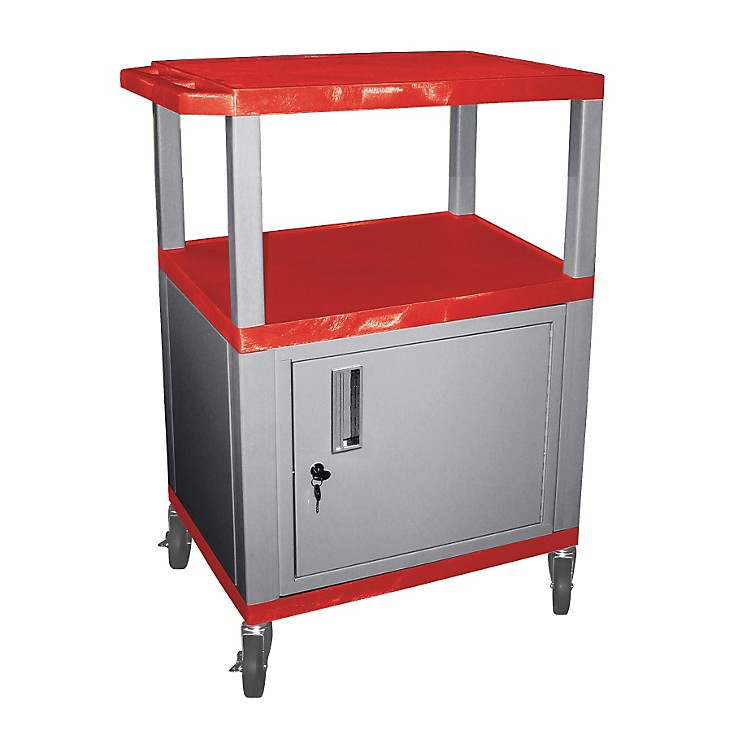 H. WilsonTuffy Cart with Lockable CabinetRed and NickelSmall
