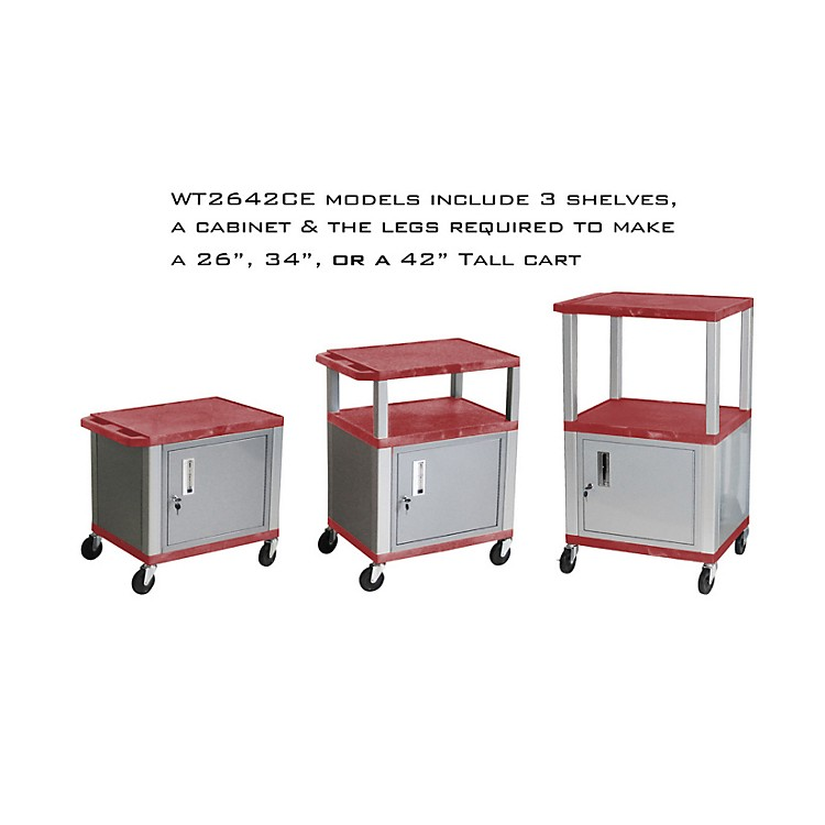 H. Wilson Tuffy Cart with Lockable Cabinet Red and Nickel Small