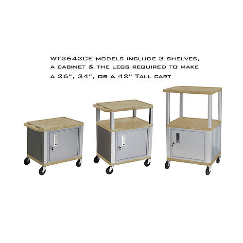 H. Wilson Tuffy Cart with Lockable Cabinet Tan and Nickel Small