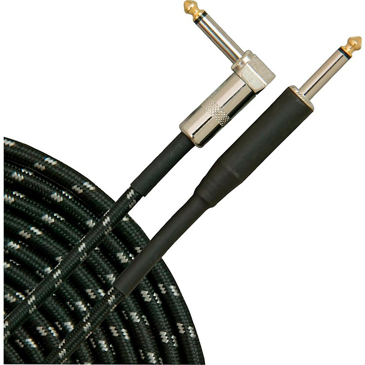 Musician's Gear Tweed Right Angle Instrument Cable Black 20 Feet
