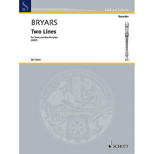 Schott Two Lines (Tenor and Bass Recorder) Schott Series by Gavin Bryars-thumbnail