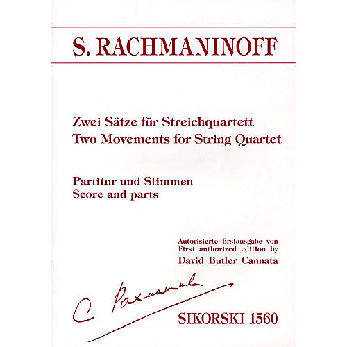 Sikorski Two Movements for String Quartet (Score and Parts) String Ensemble Series Composed by Sergei Rachmaninoff