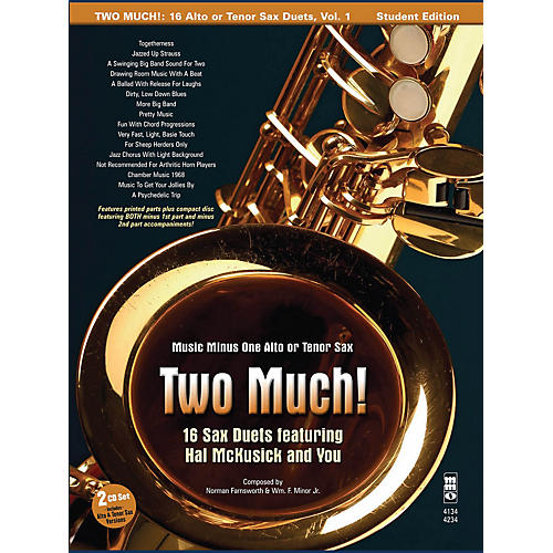 Music Minus One Two Much! 16 Duets for Saxophone Music Minus One Series Book with CD-thumbnail
