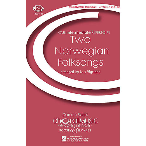 Boosey and Hawkes Two Norwegian Folksongs (CME Intermediate) 4 Part Treble A Cappella composed by Nils Vigeland-thumbnail