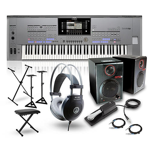 Yamaha Tyros5-76 with RPM3 Monitors, Headphones, Bench, Stand, and Sustain Pedal