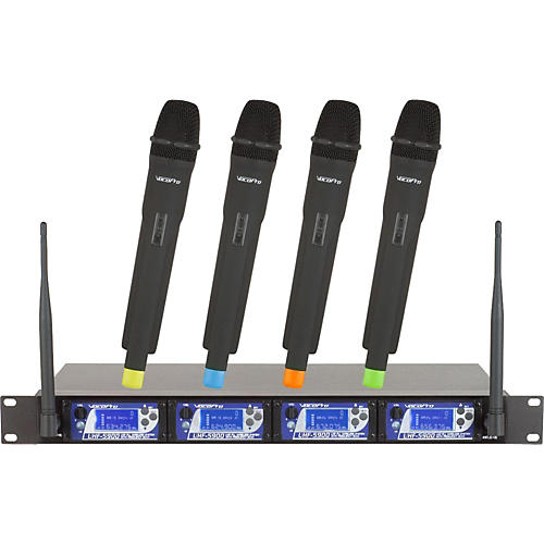 VocoPro UHF-5900 4 Microphone Wireless System with Frequency Scan