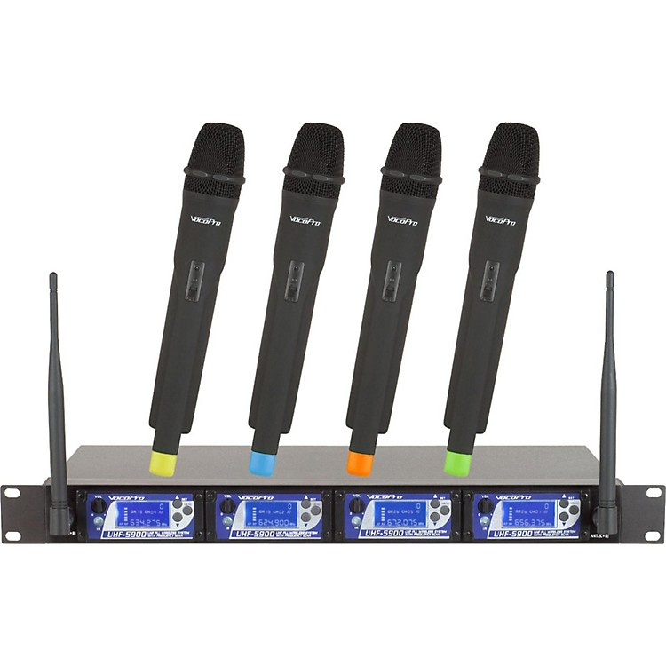 VocoPro UHF-5900 4 Microphone Wireless System with Frequency Scan Ch 2