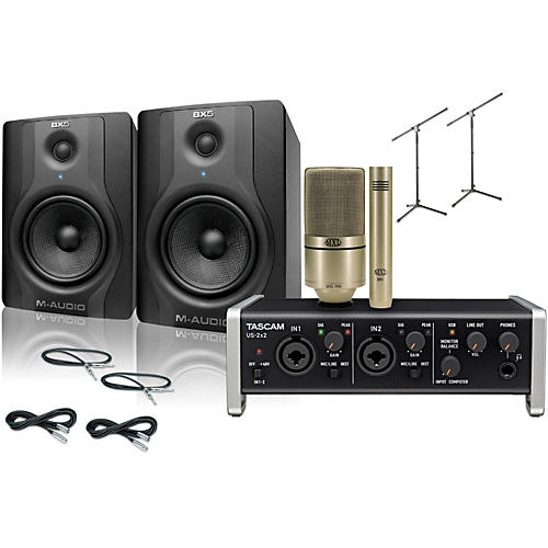 Tascam US-2x2 MXL 990/991 M-Audio BX5 Recording Package