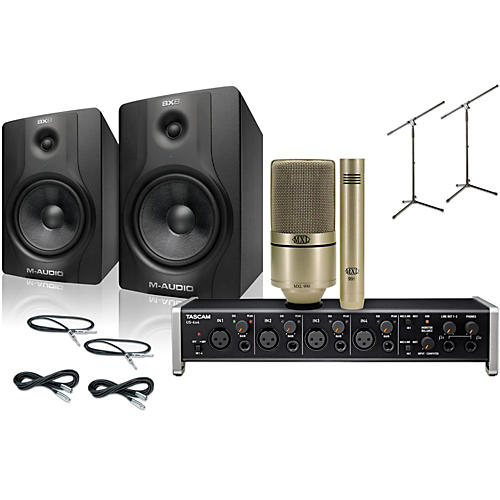 Tascam US-4x4 MXL 990/991 M-Audio BX8 Recording Package-thumbnail