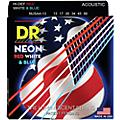 DR Strings USA Flag Sets: Hi-Def NEON Red, White & Blue Acoustic Guitar Medium-Heavy Strings