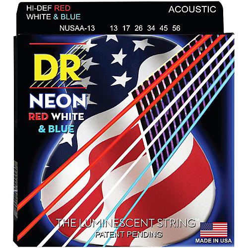 DR Strings USA Flag Sets: Hi-Def NEON Red, White & Blue Acoustic Guitar Medium-Heavy Strings (13-56)